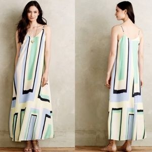 Anthropologie Maeve Abstract Geometric Maxi Dress